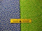 2 Fat Quarters Fabric LITTLE DAISIES on BLUE, GREEN 100% Cotton Fabric
