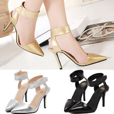 Womens Stiletto Ankle Strap Sexy High Heels Point Toe Sandal Pumps Prom Shoes