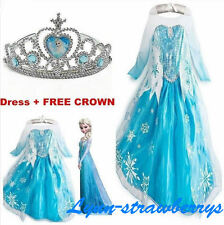 Kids Girls Dresses Elsa FROZEN dress costume Princess Anna party dresses 2-9Y