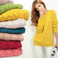 Women Crew Neck Long Sleeve Knitted Pullover Jumper Loose Sweater Knitwear Tops