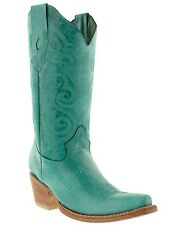 women's caroline turquoise western leather cowboy boots rodeo cowgirl ladies new