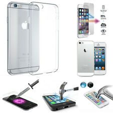 NEW ULTRA THIN CLEAR TPU GEL CASE 100% GENUINE TEMPERED GLASS FOR VARIOUS MOBILE