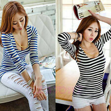 Sexy Fashion Lady Women's Long Sleeve Stripe Casual Tops Slim T-shirt Tee Blouse