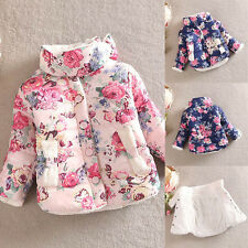 Kids Girls Winter Warm Coat Thickened Floral Stand Collar Down Jacket Snowsuit