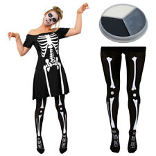SKELETON FANCY DRESS HALLOWEEN LADIES BONES COSTUME DEAD BLACK