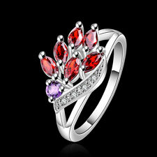 Women Jewelry Ring 925Sterling Silver Zircon Colorful Wheat Ring #7 #8 GR555