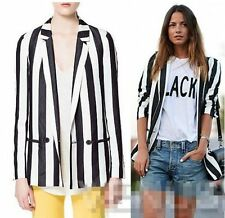 New Fashion Bloggers Women black&white Stripe Print Blazer Jacket Suits Coat Top