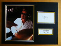 ROGER TAYLOR GENUINE HAND SIGNED AUTOGRAPH 16X12 PHOTO MOUNT QUEEN DRUMMER & COA