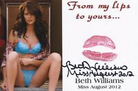 BETH WILLIAMS PLAYBOY PLAYMATE SEXY SIGNED KISS PRINT CARD  (A)