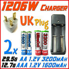 1206W US Charger +UK+ 2x AA 2A 3200mAh+AAA 3A 1600mAh Rechargeable Battery UL BR