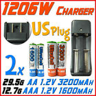 1206W US Charger + 2x AA 2A 3200mAh +AAA 3A 1600mAh Rechargeable Battery UL BO
