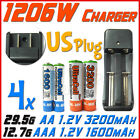 1206W US Charger + 4x AA 2A 3200mAh +AAA 3A 1600mAh Rechargeable Battery UL BO