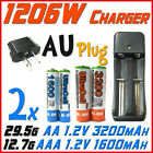 1206W US Charger +AU+ 2x AA 2A 3200mAh+AAA 3A 1600mAh Rechargeable Battery UL BO