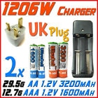 1206W US Charger +UK+ 2x AA 2A 3200mAh+AAA 3A 1600mAh Rechargeable Battery UL BO