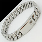 FASHION MEN'S JEWELRY POLISHED CUBAN CURB CHAIN Stainless Steel Bracelet 8.6