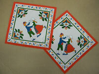 Scandinavian Swedish Dancers 2 Table Doily Squares Made in Sweden