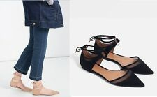 Woman ZARA TRF suede polyester MESH D'ORSAY flat SHOES lady tie-up GLADIATOR new