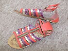 Gorgeous SOUTH Womens Red/Purple/Gold Leather GLADIATOR SANDALS~UK 6~EU 39~NEW
