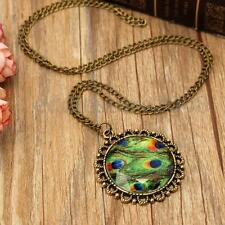 Vintage Jewellery Peacock Feather Chain Pendant Necklace Dress Girls women