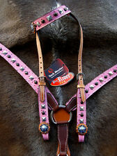 Horse Western Riding Leather Bridle Headstall Breast Collar Tack Pink 76104