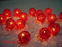 20 RED RATTAN/WICKER BALL STRING PARTY,DECORATIONS,PATIO,FAIRY,WEDDING LIGHTS