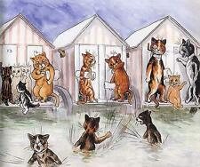 CATS AT SEASIDE BATHING HUTS, HUMANIZED, FROM LOUIS WAIN POSTCARD, MAGNET