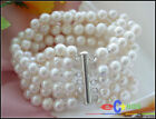 p2280 6ROW 8MM WHITE ROUND FW CULTURED PEARL BRACELET MAGNETIC