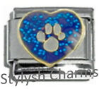 DOG PET PAW BLUE SPARKLE Enamel Italian Charm 9mm -1x DG006 Single Bracelet Link