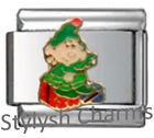 XMAS ELF *CLEARANCE* Enamel Italian Charm 9mm Link-1x NC282 Single Bracelet Link