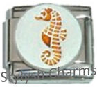 SEAHORSE BEACH OCEAN SEASIDE Enamel Italian Charm 9mm - 1 x OC149 Single Link