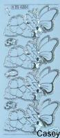 2 x Butterfly Petunia-Silver Tran -Embroidery Peel Off