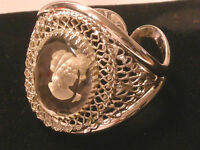 """"""" Whiting & Davis """" Large Cameo Bracelet Intaglio Carved Glass Wide hinged A160"""