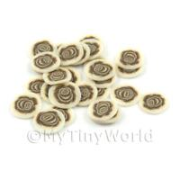50 Brown Rose Cane Slices Doll House Nail Art (DNS39)