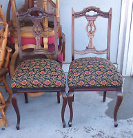 Pair of Mahogany Carved Sidechairs / Parlor Chairs  (SC4)