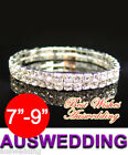 "2 Row Silver Plate/Tone Wedding Bridal Rhinestone Bracelet Crystal 7""-9"""