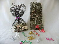 25 CELLO FAVOR BAGS BLACK FLORAL DAMASK 4X2X9 WEDDING