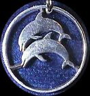 2 JUMPING DOLPHINS CUT COIN NECKLACE ICELAND COIN