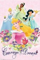 DISNEY POSTER ~ PRINCESS COURAGE TO DREAM Cinderella Sleep Beauty Jasmine Tiana