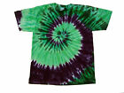 Tie Dye T-Shirt Adult Tri Green & Purple Spiral