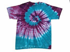 Tie Dye T-Shirt Adult Tri Purple & Teal Spiral