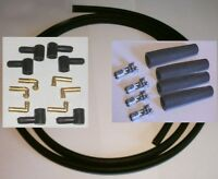 Ignition Lead Kit 4 Spark Plug Caps 2.5m HT Carbon Lead  6 Cap Coil Angled Terms