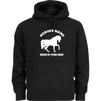 HORSE RIDING HOODIE PERSONALISED WITH YOUR HORSE NAME & RIDERS NAME ADULT & KIDS