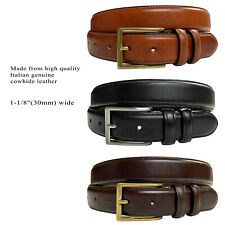 """Mens Genuine Cowhide Oil-Tanned Leather Dress Casual Belt, 1-1/8"""" Wide"""