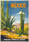 TX11 Vintage MEXICO Cactus Mexican Travel Tourism Poster Re-Print A4