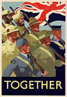 Vintage WWII British Together Allies United War Poster Re-Print WW2 A4 3W5