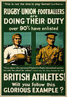 WA2 Vintage WWI 1915 British Rugby Football Athletes Recruitment Poster WW1 A4
