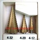 3 Pieces New HSS Steel 4 to 12/20/32MM Step Drill Bit Tool Set Cone Cutter