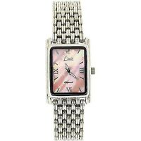 Limit Ladies Pink Mother Of Pearl Rectangular Dial Silver Bracelet Watch 6754