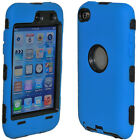 DELUXE BLUE 3PIECE HARD/SKIN CASE COVER FOR IPOD TOUCH 4 4G 4TH GEN+PROTECTOR