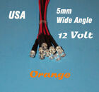 10 PCS LED - 5mm PRE WIRED 12 VOLT WIDE VIEW ANGLE ORANGE PREWIRED 12V FLAT